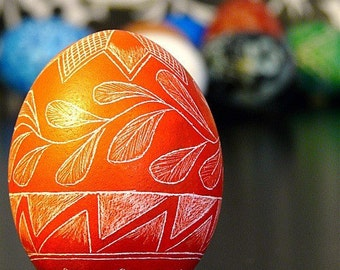 Easter - Scratched Real Egg Lithuanian Carved Unique Present Red Pysanky Country Polish Ukraine - Stand or Ornament