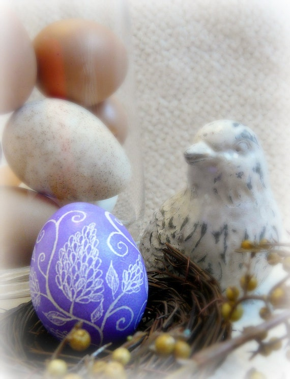 Easter Egg Purplish Blue Abstract Lilac Hand Etched Egg Flower Scratched European Carved Pysanky Egg Art Free Wooden Stand