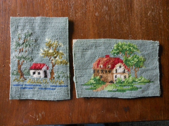 vintage needlepoint s, a pair, 4 by 6 inches, houses with trees