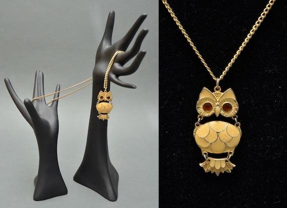 70s Gold Cream Hinged OWL Necklace Boho Hippie MOD