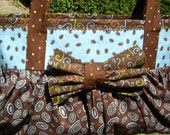 Brown and Blue Cotton Bow Bag with Snap Closure - Ready to Ship