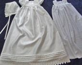 White Christening Gown/ Baptismal Dress Set Size Large For Baby Girl