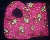 Bright Pink Monkey Baby Bib and Burp Cloth Set For Girl