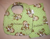 Personalized Lime Green Monkey Baby Bib and Burp Cloth Set For Boy or Girl