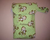 Personalized Lime Green Monkey Diaper & Wipe Clutch For Boy or Girl