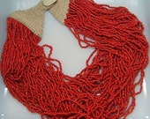 Vintage Necklace, Vintage Red Necklace Huge 40s Glass Trade Beads Stunning Bib Necklace