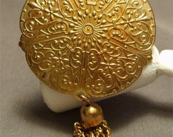 Fleur de Lis Brooch Pin Repousse Vintage Jewelry
