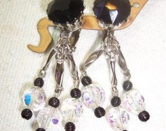 Vintage Long Dangle Clip On Earrings Black Crystal Glass Vintage Jewelry