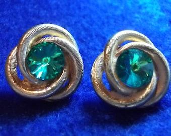 Blue Green Rivoli Vintage Earrings Clip On Jewelry