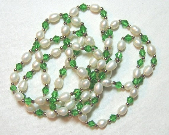 Crystal Pearl Necklace Green And Natural Pearl Long Necklace