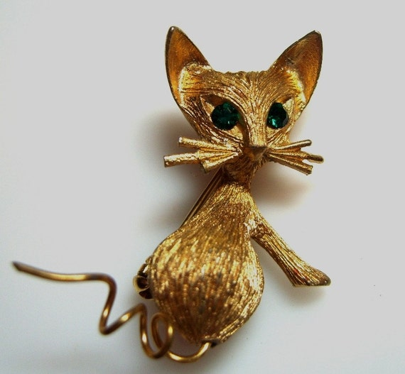 Vintage Cat Brooch Fancy Kitty Cat Pin with Rhinestone Eyes (sn 680)