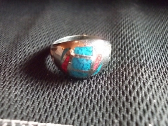 Vintage Ring, Vintage Turquoise & Coral Ring Size 11