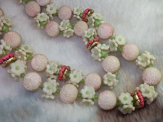 Vintage Necklace, Vintage Beaded Necklace Textured beads & Flower Beads Necklace multi strand Hong Kong