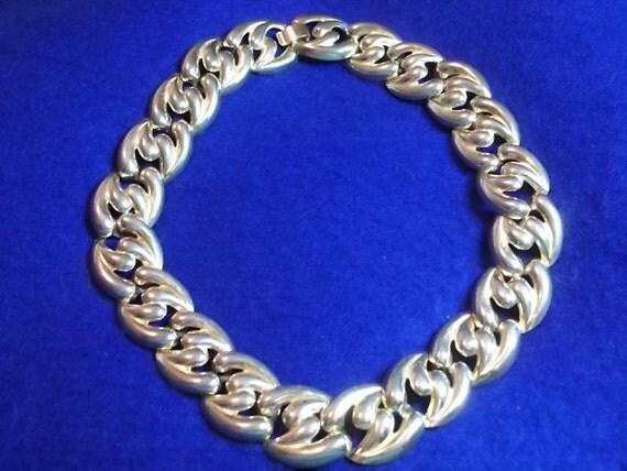 Vintage Necklace, Vintage Wide Necklace CHUNKY Link Necklace