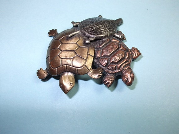Vintage Brooch, Vintage TURTLE Brooch Sweet 3 Turtles Pin  Copper Silver & Brass Toned,Vintage Brooch