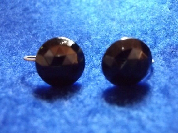 Vintage Black Glass Earrings Sterling Faceted Glass Ear Bobs  (sn 261)