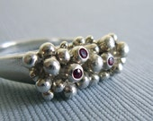 SALE - Large Anemone Ring -  3 Sapphires - 3 Rubies - Unique Jewellery - Silver - Funky