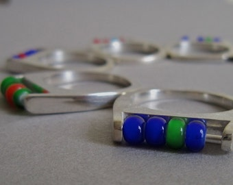 SALE, Abacus Ring, fidget, Custom colour, Unique Jewellery, Handmade, Silver, Beads, Design