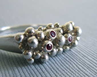 SALE, Large Anemone Ring,  3 Sapphires, 3 Rubies, Unique, Jewellery, Silver, Funky, Ocean, Handmade