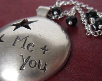 SALE - Necklace. Me & You, unique, hearts, stars, trees, sterling silver