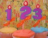 Custom Age Birthday Cupcake Toppers