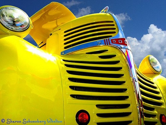 Retro Photo of Classic 1946 Dodge Pickup Truck - Yellow Decor for Home or Office
