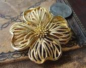 Vintage Trifari Brooch Gold Flower Daisy Four Leaf Clover