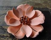Enamel Flower Brooch Vintage Peach Orange Crystals Pin