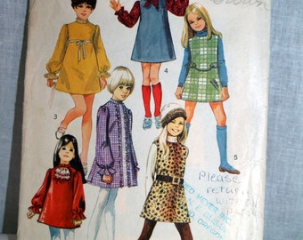 Simplicity 60s pattern girls dress jumper and scarf - 8373