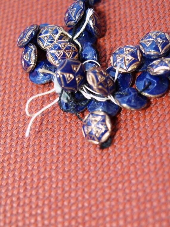 blue vintage Glass buttons gold trim