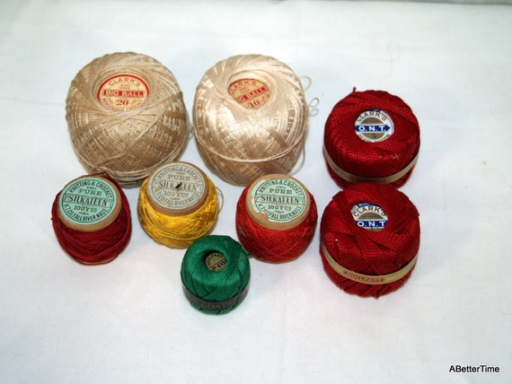 Vintage cotton thread red yellow green and ecru