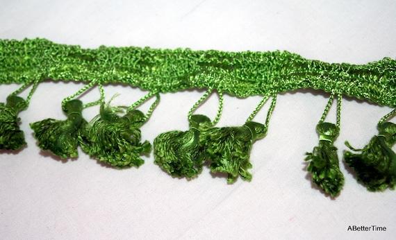 Fringe tassel trim upholstery bright green over 9 yards