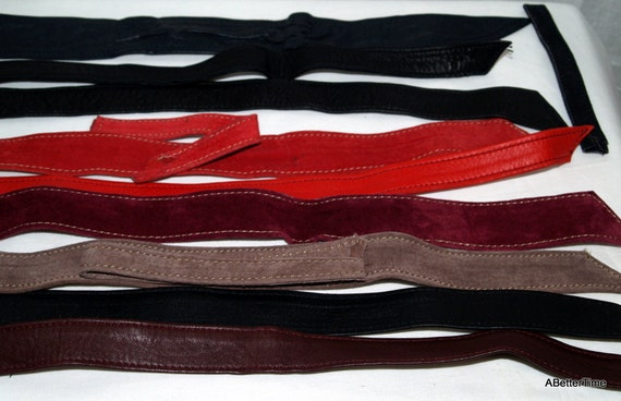 Lot of 9 suede and leather belt lengths