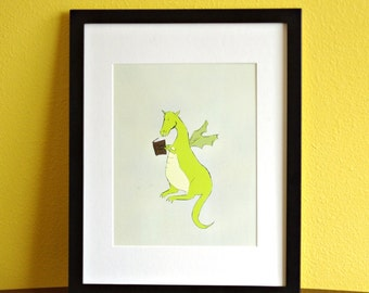 Dragon Reading Art Print Educational Classroom Decor Nursery Art Print 8x10