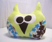 Lime Green Fuzzy Fleece Owl Pillow with floral wings