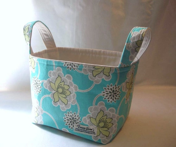 Fabric Basket Storage Bin with Amy Butler's Clematis in Turquoise