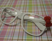 Nerd Glasses with Bow - Clear Lens, White Frames
