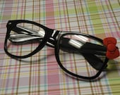 Nerd Glasses with Bow - Clear Lens, Black Frames