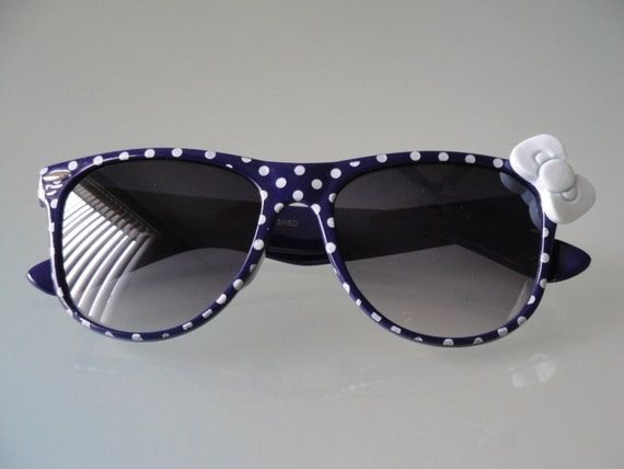 Polka Dot Nerd Sunglasses with Bow - Navy Blue Frames, Dark Lens