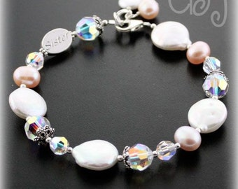 Sister Bracelet, Sister Jewelry, Freshwater Pearls and Crystals, Wedding Jewelry