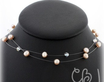 Wedding Custom Jewelry, Double Stand Illusion Necklace Freshwater Pearls and Crystals, Bridesmaid Necklace, Custom Made Wedding Jewelry