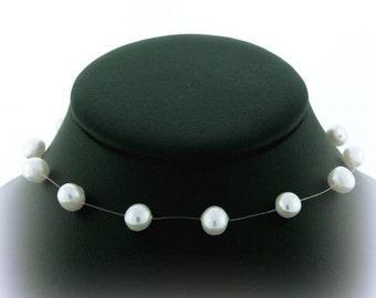 Wedding Jewelry, Custom Made Wedding Jewelry, Illusion Necklace White Pearls, wedding jewelry, bridesmaid necklace