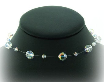 Bridal Necklace, Single Strand Swarovski Crystal Illusion Necklace Clear AB