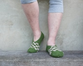 Green taxi warm natural hand knitted socks slippers for men  MADE TO ORDER