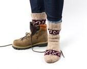 Beige ornament warm men's knitted socks