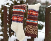 Knee high knitted socks with african ornaments for women