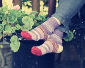SALE 20 % Pelargonium hand knitted Women's socks Eur 35-36/ US 5-5,5