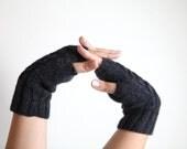 SALE 20 % Cozy soft black hand knitted fingerless for women