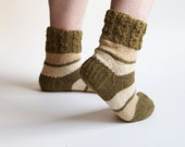 SALE 20 % Khaki olive warm hand knitted socks for men