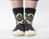 Black and cream hand knit wool socks for unisex adults